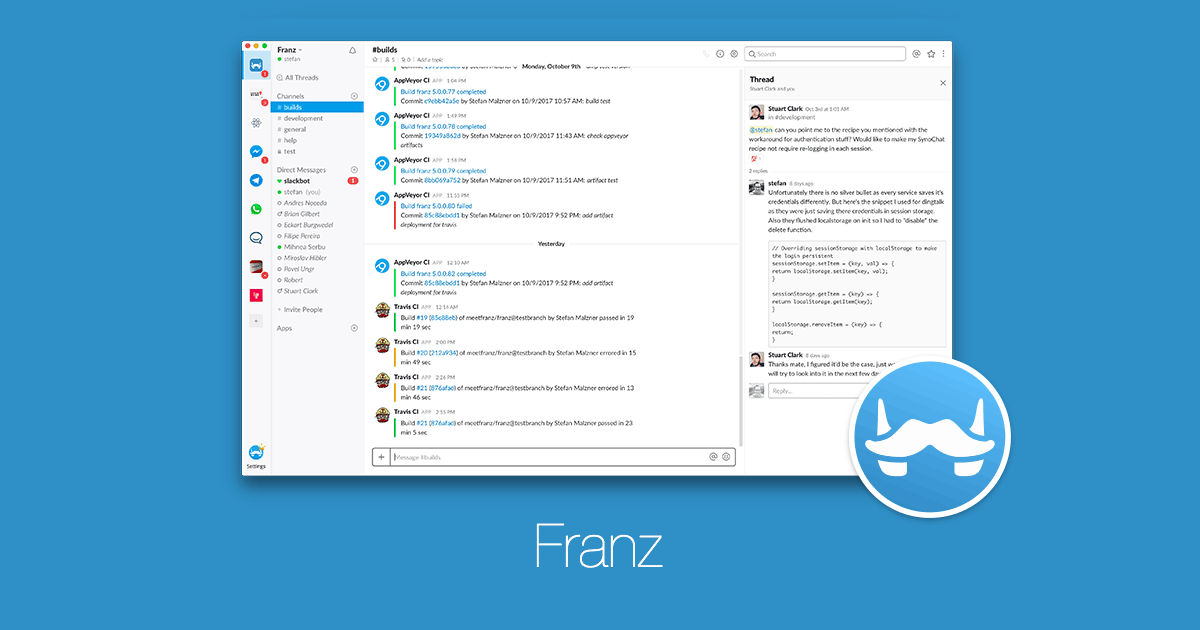 Franz – a free messaging app for Slack, Facebook Messenger